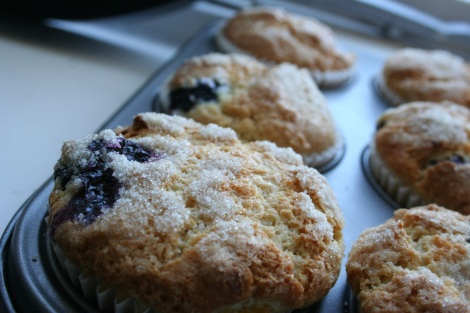blueberry and peach muffins