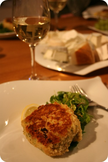 Fish cakes with goats cheese centre