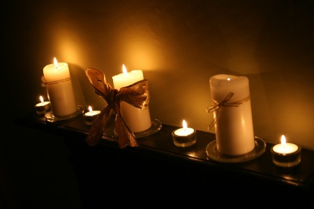 candles on the mantlepiece