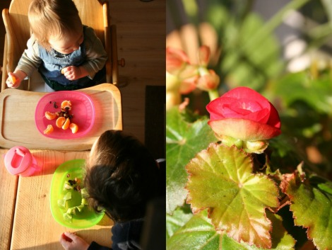children eating afternoon tea, pink flower