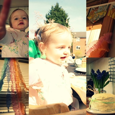 girl's first birthday party, cake, bambi bunting, streamers