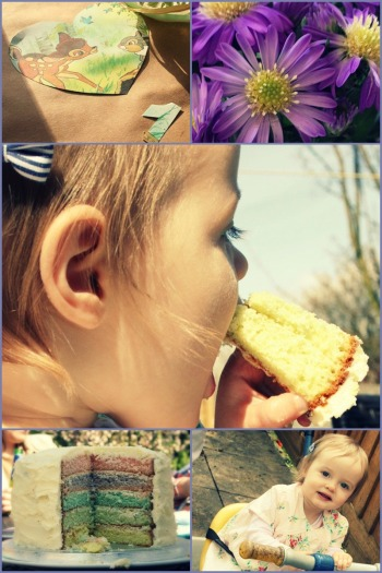 girl's first birthday, cake, cornflowers, retro Bambi