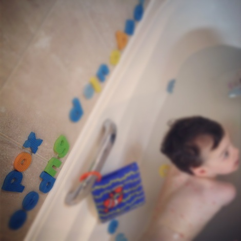 boy with chicken pox in the bath