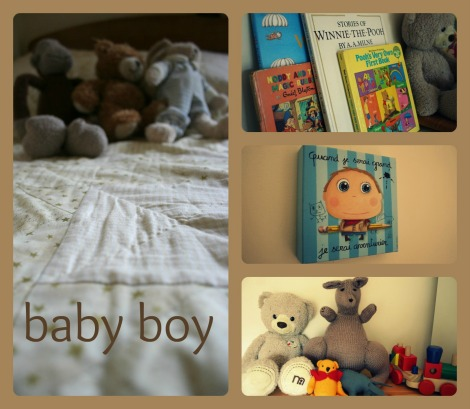 baby boy's nursery soft toys books wall hanging quilt