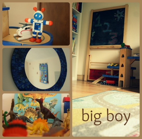 big boys bed room mirror robots dinosaurs chalkboard