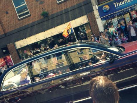 Queen in her car