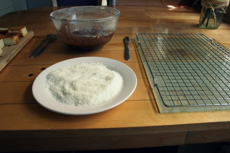 preparing for making lamingtons