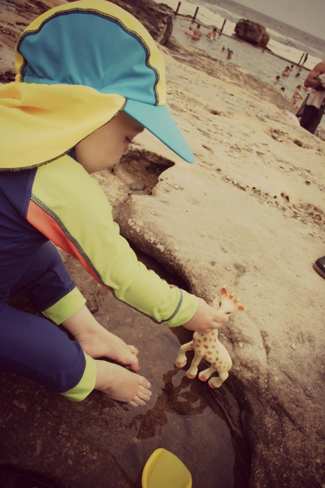 boy playing in rockpools by the ocean