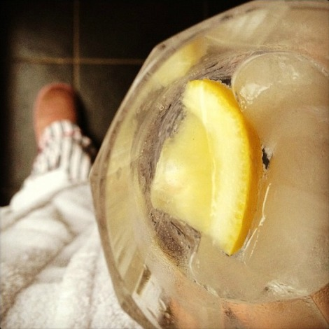 gin and tonic, dressing gown and slippers