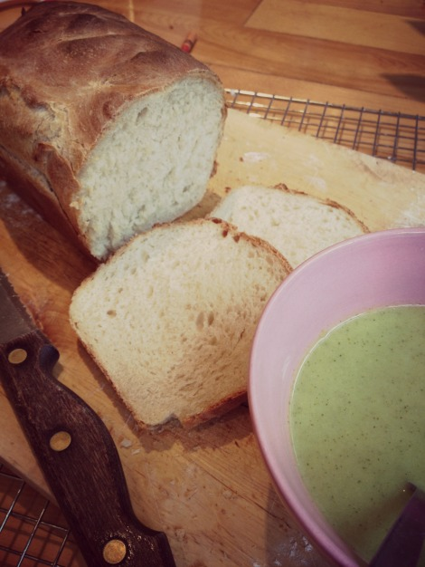 freshly baked bread and broccoli soup