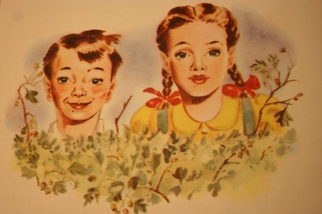 1950s childrens book illustration of two children