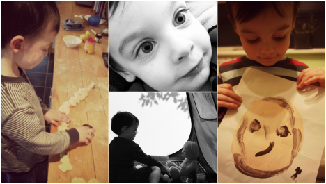 three year old boy cooking, with self portrait, in a tent, close up