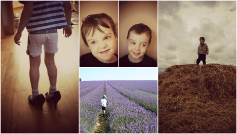 three year old boy in heels, on haystack, in lavender field, pulling faces