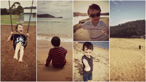 three year old boy on holiday in sydney