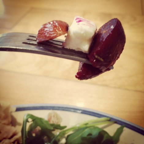 fork almond beetroot feta