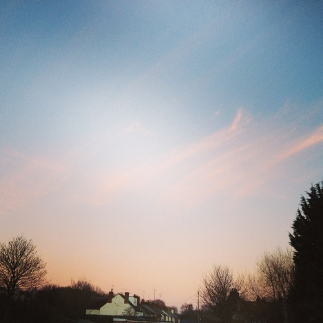 winter dusk pink sky