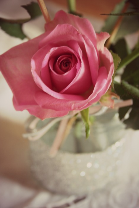 rose in glitter jar