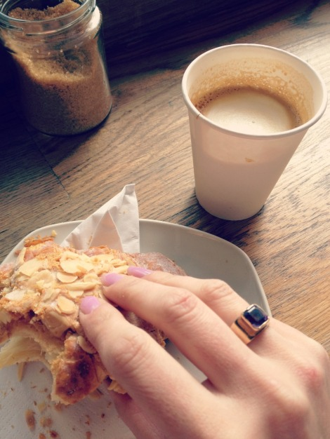 morning pastry and coffee in peace