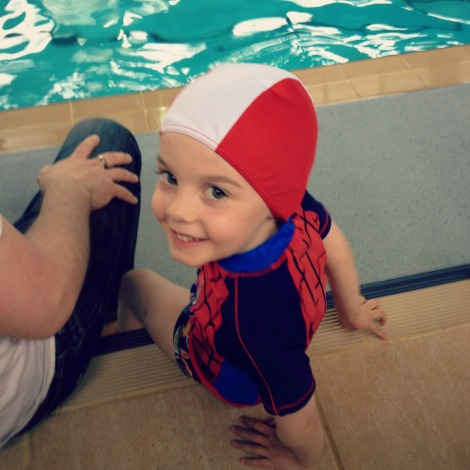 boy waiting for swimming lesson