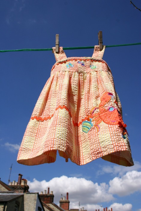 vintage orange girl's sundress