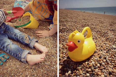 Children playing on Chesil Beach