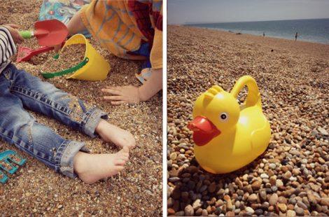 Children playing on Chesil Beach