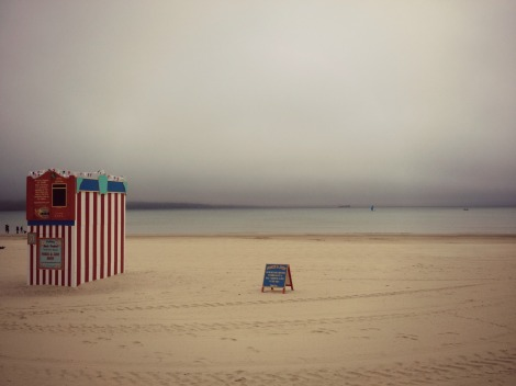 Weymouth beach under fog