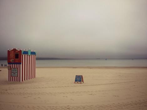 Weymouth beach under fog