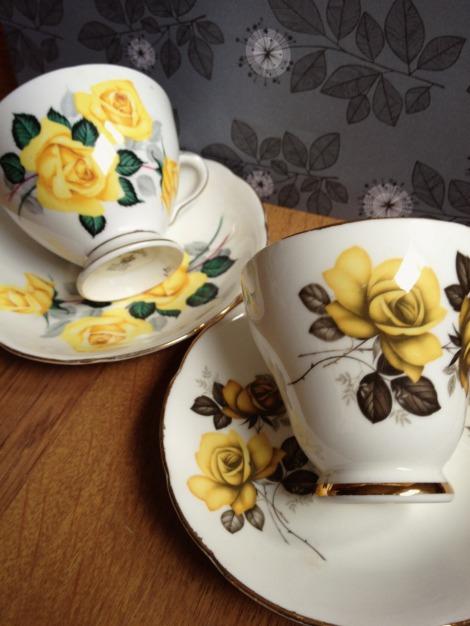 yellow rose vintage teacups | bluebirdsunshine