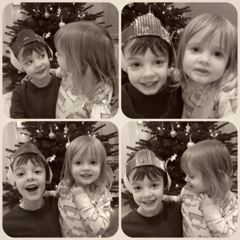 brother and sister at christmas
