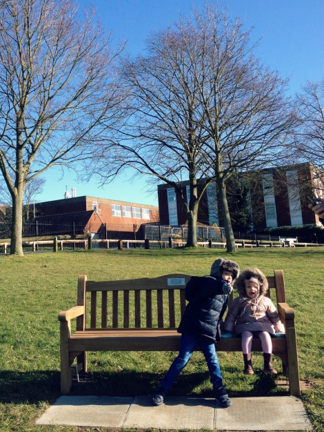 siblings on a bench | bluebirdsunshine