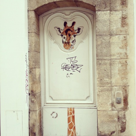 Giraffe on Paris Door | bluebirdsunshine