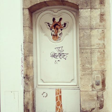 Giraffe on Paris Door | bluebirdsunshine