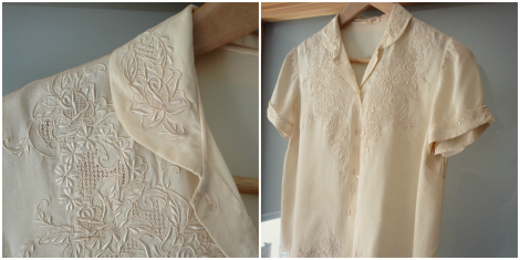 cream silk blouse | bluebirdsunshine