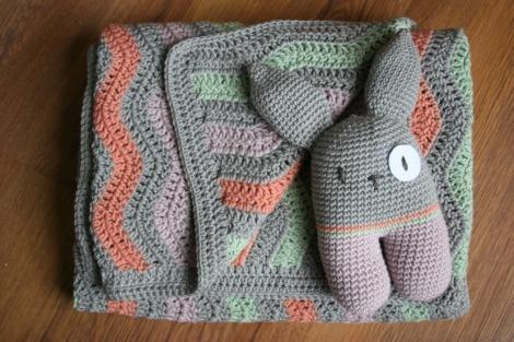 Coral Ripple Blanket & Bunny | Bluebirdsunshine