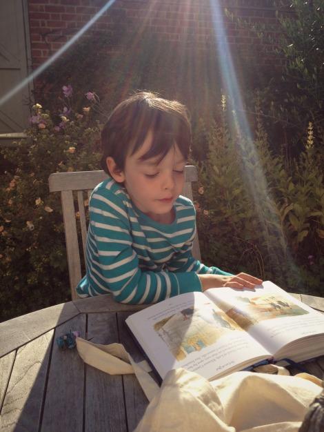 Boy reading in sun | bluebirdsunshine