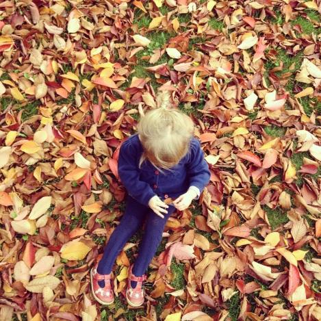 Girl in autumn leaves | bluebirdsunshine